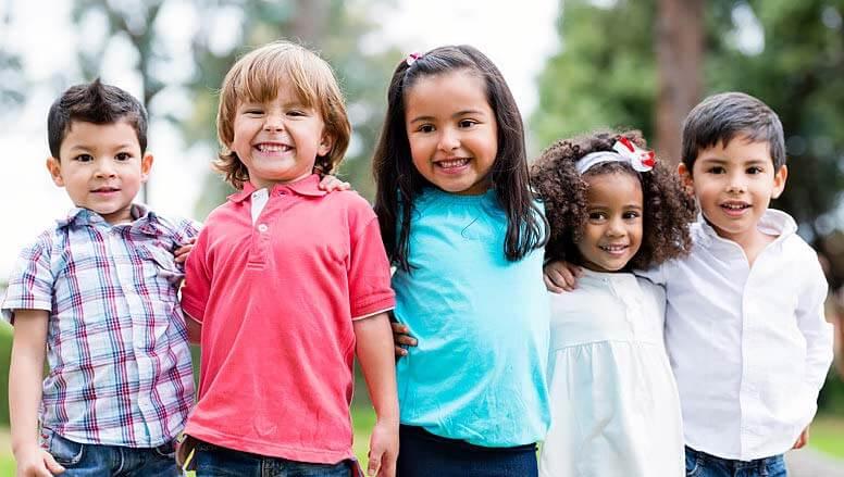 five kids smiling