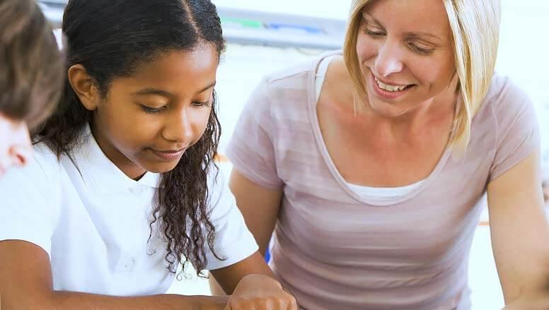 girl and a teacher